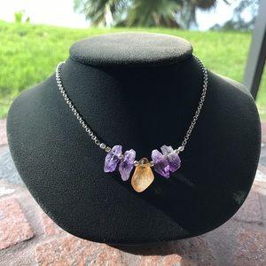 Genuine raw amethyst & citrine boho gems necklace